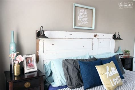 how to mount a door as a headboard diy vintage door headboard dawn nicole designs 174