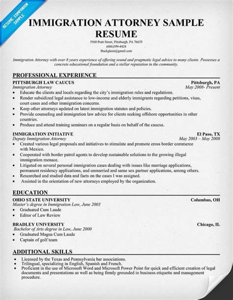 Immigration Paralegal Resume by Immigration Attorney Resume Resumecompanion