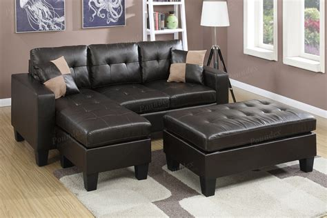 claire leather reversible sectional and ottoman bonded leather reversible sectional sofa