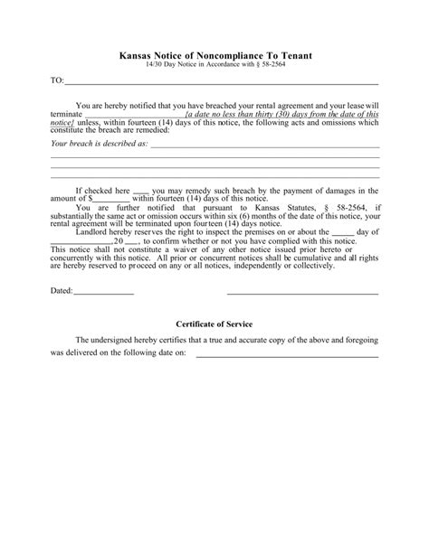 14 day eviction notice template kansas 14 day notice to quit form non compliance