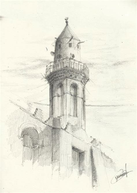Mosque Drawing by Minaret Of Amr Ibn Al As Mosque Fustat Cairo Pencil Drawing Using H Hb 2b Copyright