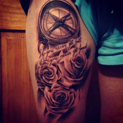 compass tattoo on thigh thigh tattoo roses and compass quot if you never get lost