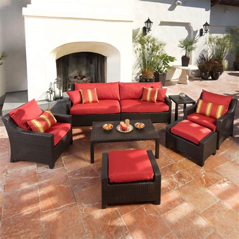 set with ottoman cantina 7 sofa seating set with chairs ottomans