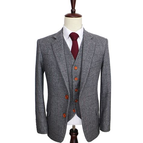 Handmade Mens Suits - aliexpress buy 2016 wool retro grey herringbone