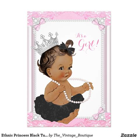 Etnic Black ethnic princess black tutu lace pearl baby shower card
