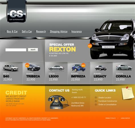 website templates for used car dealers car dealer website template 13757