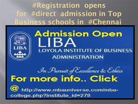 Top Mba Schools In Chennai by Registration Opens For Direct Admission In Mbaprogram