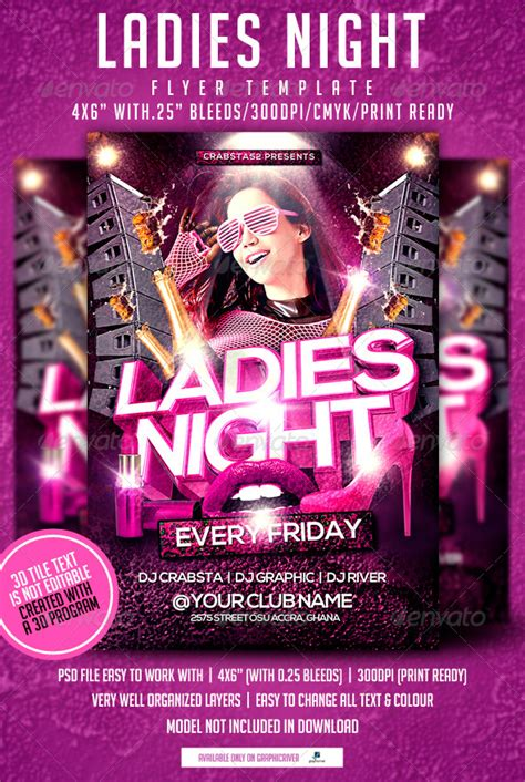ladies night flyer template by crabsta52 graphicriver