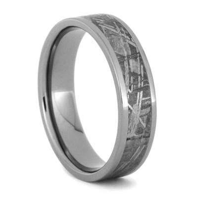 meteorite wedding ring set with white gold and titanium