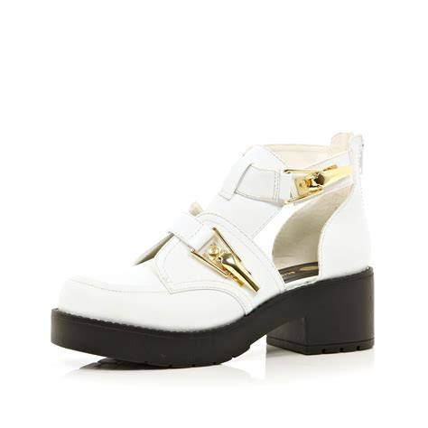 river island white chunky buckle cut out boots in white lyst