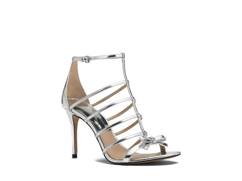 michael kors high heel sandals michael kors ankle sandals blythe caged metallic