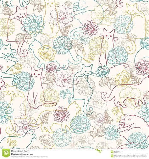 flowers seamless pattern element vector background seamless flowers and cats background vector illustration