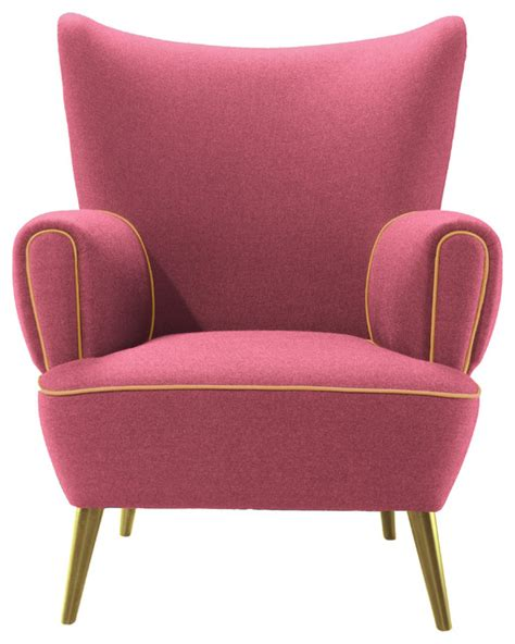 pink armchairs garland pink and golden accents armchair contemporary