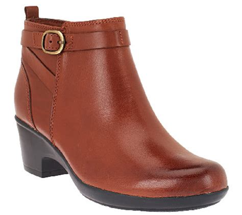 qvc ankle boots clarks leather ankle boots w buckle detail malia