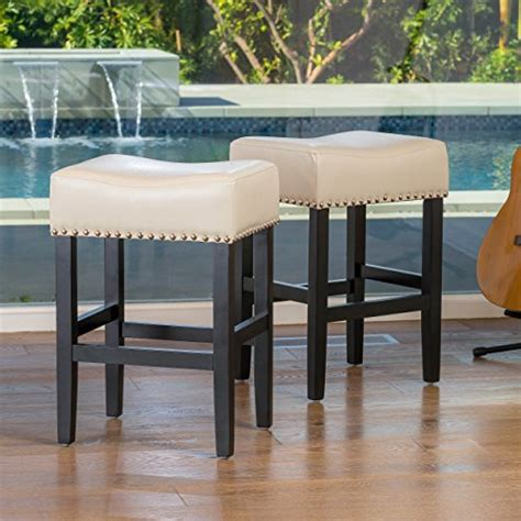 Chantal Backless Ivory Leather Counter Stool W Nailhead Accents by Cheap Deals And Best Offers For Clifton Ivory Leather