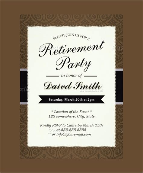 retirement invitation template word sle invitation template premium and free