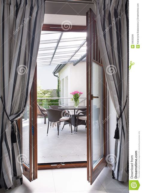 curtains for balcony doors balcony door with curtains stock image image of curtain