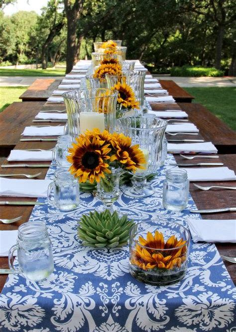 sunflower table settings best 20 outdoor table centerpieces ideas on