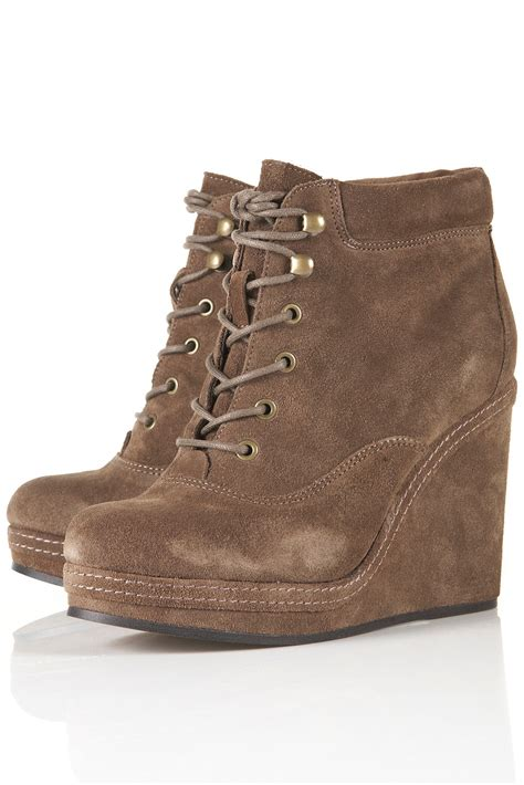 topshop andreas wedge lace up boots in gray taupe lyst