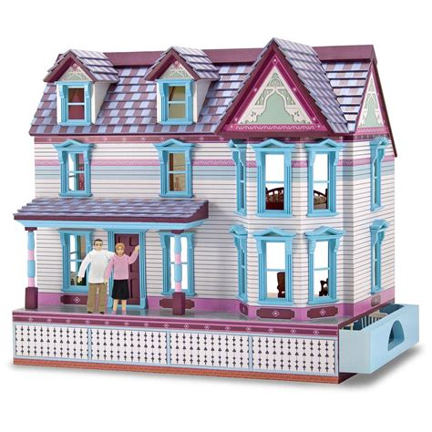melissa and doug doll house melissa and doug 174 wooden self storing fully furnished dollhouse 147106 toys