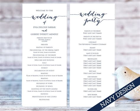 Wedding Program Templates Ceremony Program Template Two One Page Wedding Program Template 2