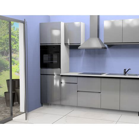 cuisine 233 quip 233 e 2 l255 cm coloris gris pas cher 224