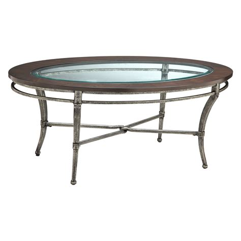oval metal coffee table stein verona oval metal with wood and glass top