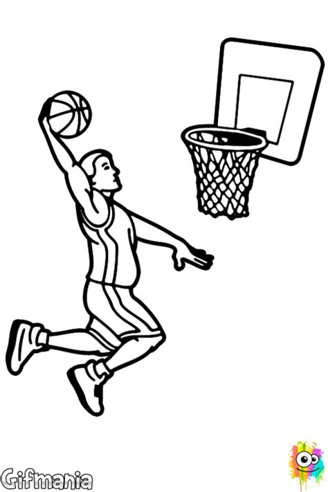 Coloriage Basket Slam Dunk Shooting Coloring Page