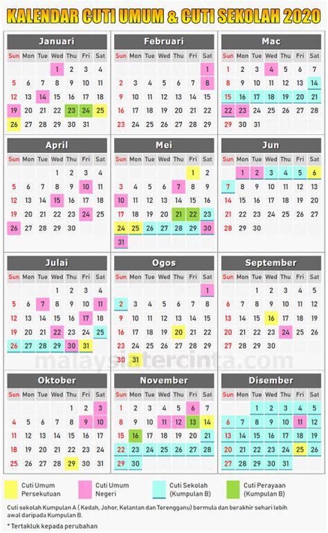 kalendar cuti umum  cuti sekolah