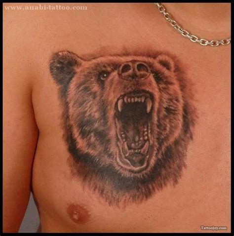 grizzly bear face tattoo for chest tattoos book 65 000