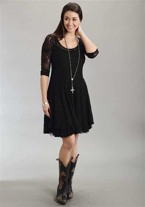 Wst 8491 Lace Dress Black Sml stetson 174 black lace western dress