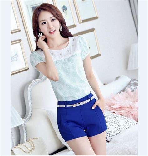 Blouse Lengan Pendek blouse lengan pendek biru terbaru myrosefashion
