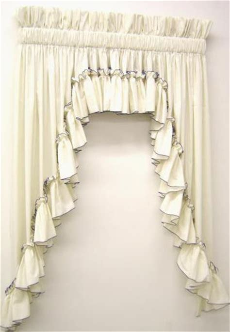 White Ruffle Curtain Panels Carolina Pearl Edge Country Style Curtains Ruffled