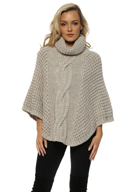 cable knit poncho j l beige cable knit poncho