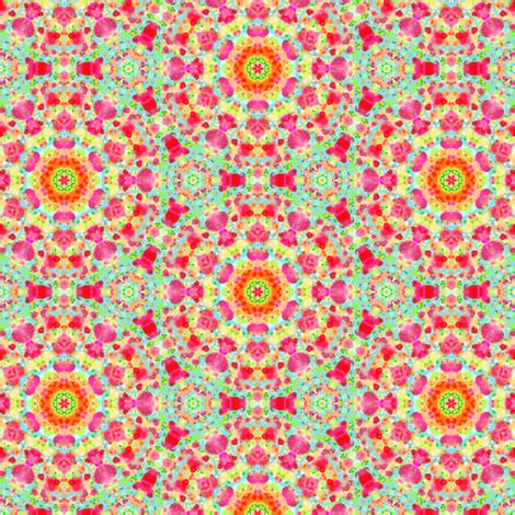 retro flowered dotted pattern in purple, pinks, oranges