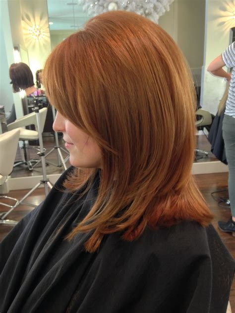 haircut directions for a stylist color medium golden auburn color with golden balayage