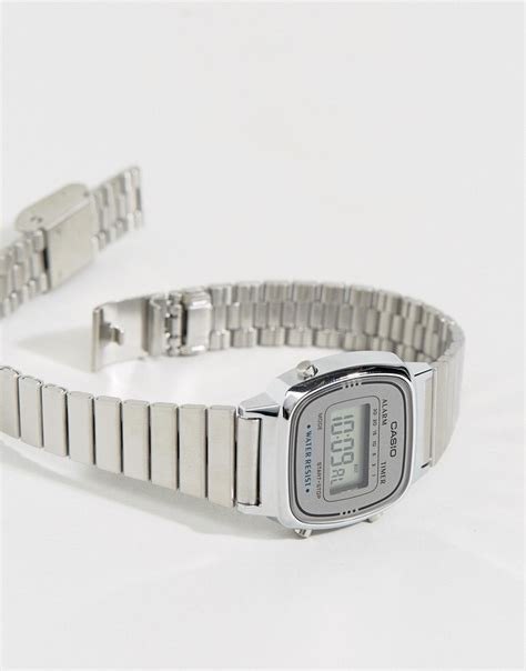 casio casio silver mini digital la670wea 7ef at asos