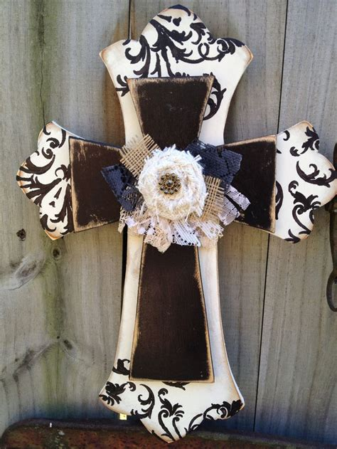 ivory and black embellished stacked cross home decor