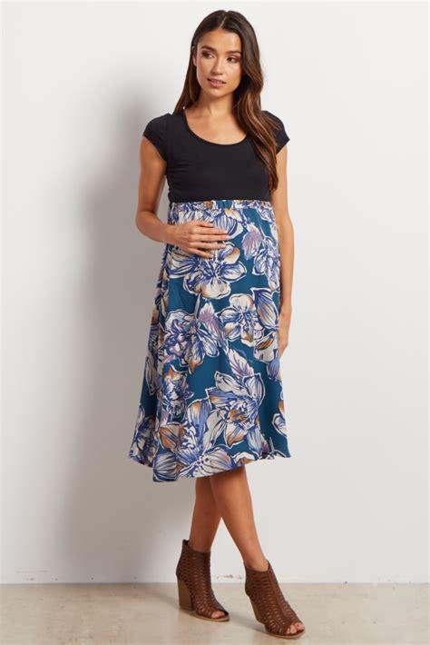 Dress Import 25603 Fresh Floral Dress black floral flowy maternity skirt