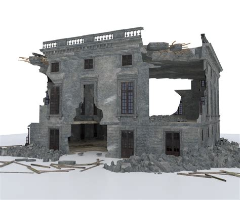 damaged building war post apocalypse  model cgtrader