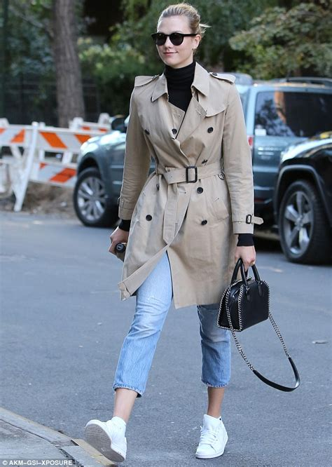 Keeps A Low Profile by Karlie Kloss Keeps A Low Profile In Trench Coat And Shades