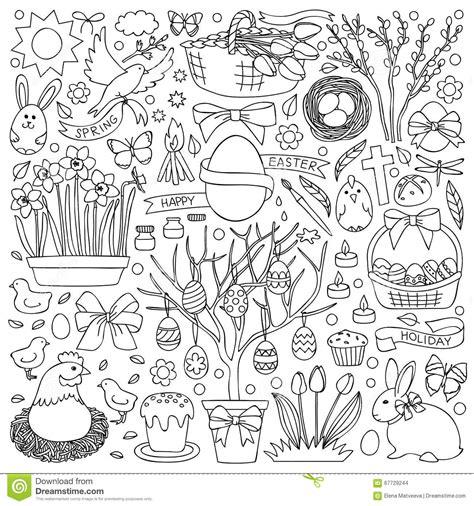 doodle resurrection easter doodle set stock vector image 67729244