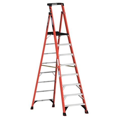 step ladders werner ladders 14 ft fiberglass podium step