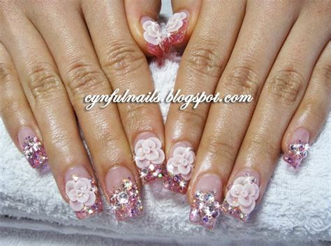 3d Wedding Nails W Rhinestone Kuku Palsu Nail Wd0002a cynful nails bridal nails flowers