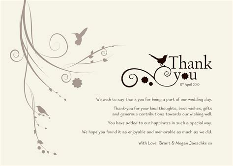 wedding thank you card message template damsel design wedding quot thank you quot cards