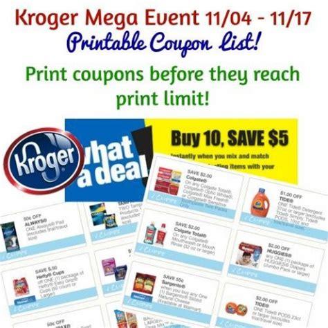 printable kroger coupons new printable coupon list for kroger mega event nov 4th