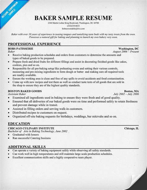 Food Server Resume Sample by Baker Resume Resumecompanion Com Resume Samples