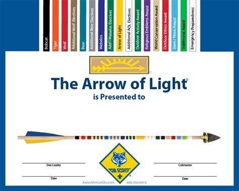 arrow of light award free personalized arrow of light award certificates