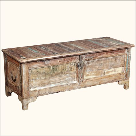 Storage Chest Coffee Table Rustic Reclaimed Wood Storage Blanket Box Coffee Table Chest Trunk Furniture Ebay