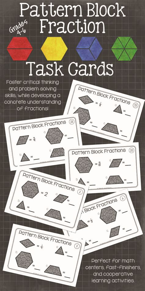 pattern block cards pattern block fraction task cards